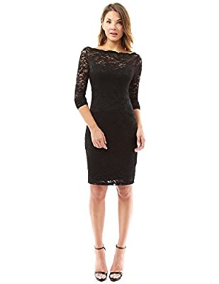 PattyBoutik Women's Boatneck Sweetheart Floral Lace Dress