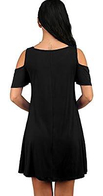 Sarin Mathews Womens Cut Out Cold Shoulder Ruffle Sleeve T Shirt Swing Dress