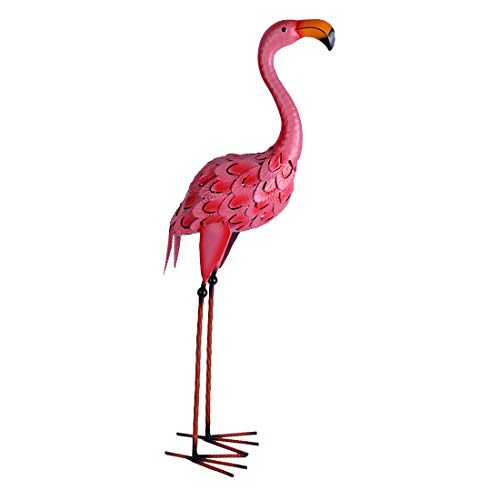 YOUKI Pink Flamingo Lawn Ornaments Metal Flamingos Garden Decoration Outdoor Yard Decor high 25.6 inches