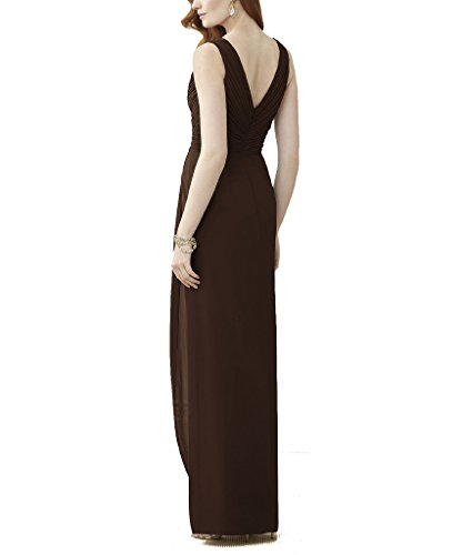 Ssyiz Vestidos Mujer Elegante V-Cuello Chiffón Plisado Maxi Dama de honor Noche de Fiesta(Privado Personalizado) Café