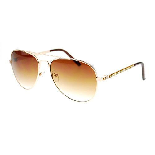 Diva Luxury Bling Rhinestone Iced Out Metal Rim Aviator Sunglasses - Aviator Sunglasses Rim Gold