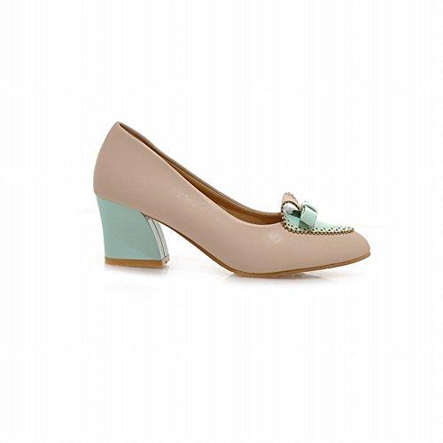 Latasa Mujeres Fashion Heart Bow Round-toe Chunky Mid-heel Bombas Zapatos De Albaricoque