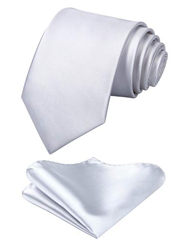 Mens Solid White Tie Classic 3.4