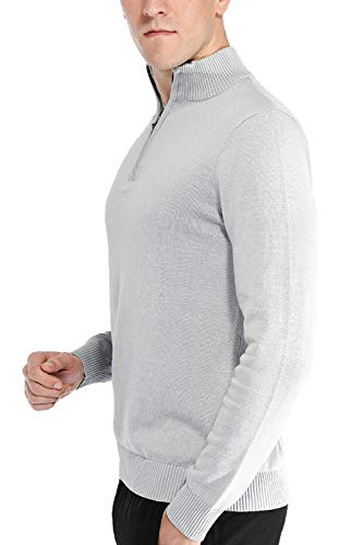 Pioneer Camp Men's Sweater Pullover Slim Fit Long Sleeve Knitted Soft Mock Neck Quarter Zip Polo Sweater