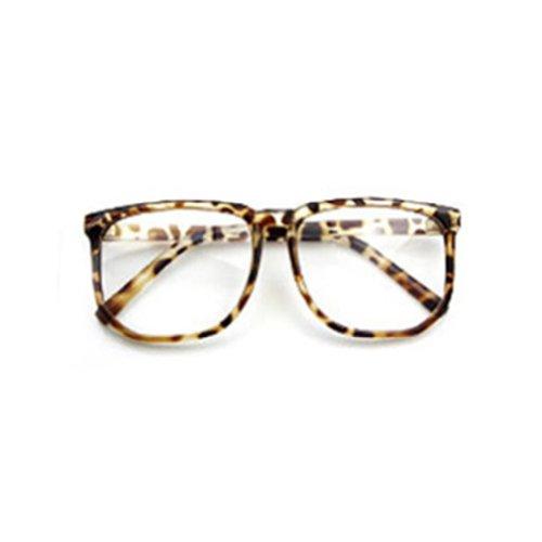 Unisex Men Women Fashion Oversized Retro Tortoise Shell Clear Lens Plain Glasses - Tortoise Glasses Retro Shell