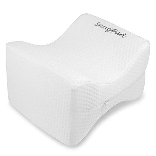SnugPad 10147 Memory Foam Knee Side Sleepers-Sciatica Relief, Back, Pregnancy, Hip and Joint Pain-Contour Leg Pillow for Sleeping - White, 9.8 x 7.9 x 6.7 inches