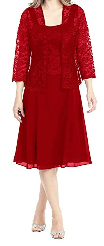 Women's Knee Length Chiffon Mother of the Bride Dresses with Lace Jacket Formal Prom Gowns Red US24W