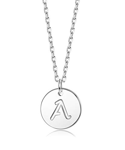 Sllaiss Initial Pendant Necklace Round Disc Engraved Letter Pendant 925 Sterling Silver Personalized Alphabet Pendant for Women Girls Teen (A) 925 Silver Inspiration Necklace