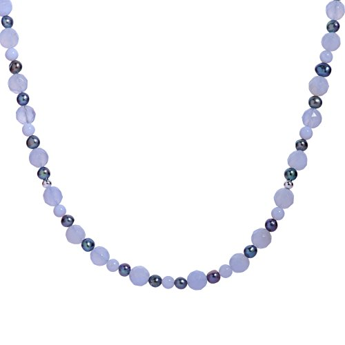 Carolyn Pollack Sterling Silver Blue Lace Agate and Peacock Pearl Gemstone Beaded Necklace 24 Inch