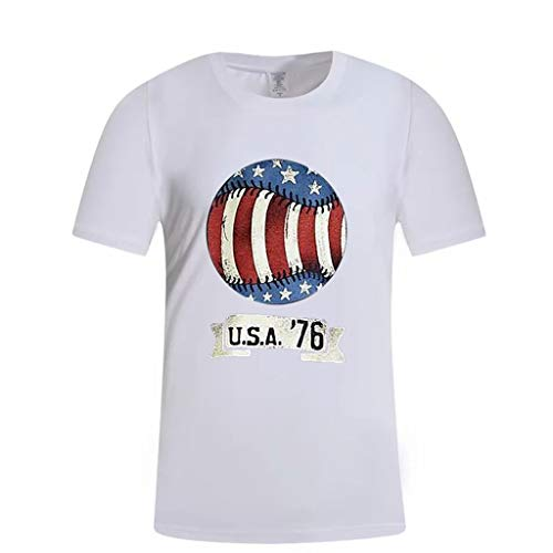 RoDeke Men's American Flag Rugby U.S.A.'76 Print Sports Short Sleeve Casual Gym T-Shirt Tops Summer White