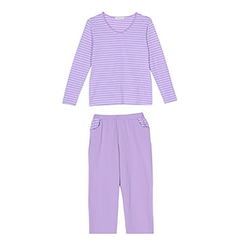 CHUNHUA Sra primavera y otoño de manga larga pijama de rayas chándal de algodón dulce , pink , l Púrpura