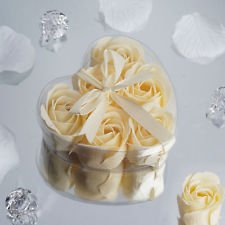 Ivory 10 Gift Boxes with HEART ROSE PETALS SOAPS Wedding Party FAVORS Supply
