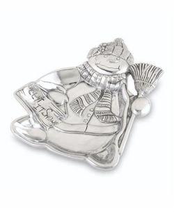 Lenox Snowman Tray, Yuletide Metal Serveware, New in Box