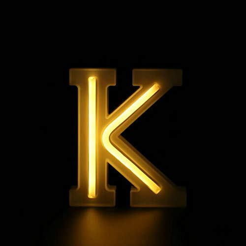 Auelife LED Marquee Letter Lights Sign, Warm White 26 Alphabet Letter Lights Battery/USB Powered for Wedding Confession Birthday Party Christmas Wall Decor-K