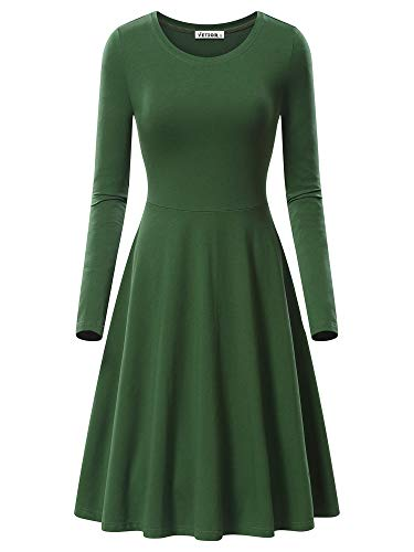 VETIOR Swing Dress, Women's Long Sleeve Casual Swing Dress 17033-8 Medium Army -