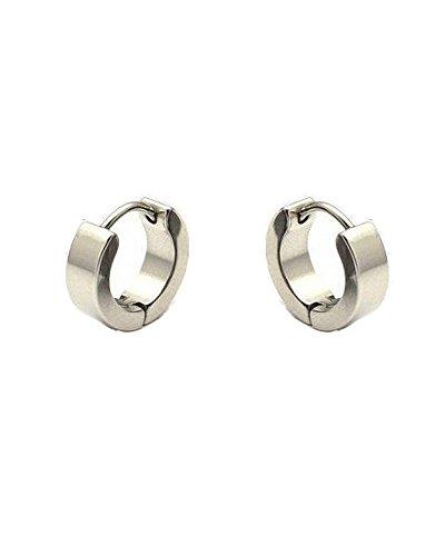 Silver-tone Men Unisex Huggie Earrings in Stainless Steel