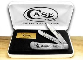 CASE XX Collector s Holy Bible Psalm 23 1 White Pearl Trapper Pocket Knife Knives