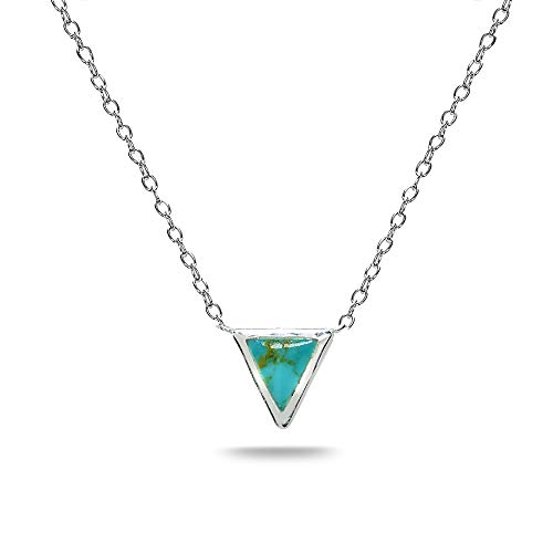Triangle Turquoise Necklace - Sterling Silver Polished Simulated Turquoise Triangle Minimalist Dainty Necklace