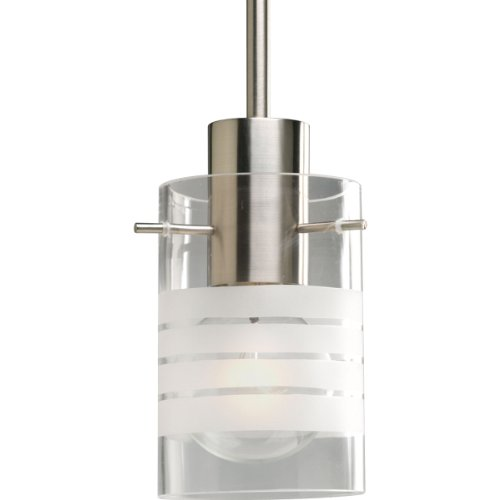 - Progress Lighting P5158-09 1-Light Stem Hung Mini-Pendant with Clear and Etched Glass, Brushed Nickel