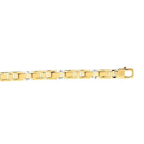 BH 5 Star Jewelry 14kt Gold 8.25'' Yellow+White Finish 7mm Shiny Fancy Bracelet with Lobster Clasp by BH 5 Star Jewelry