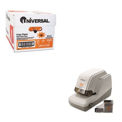 KITMXBEH50FUNV21200 - Value Kit - Max USA Corp EH-50F Heavy-Duty Flat Clinch Electric Stapler (MXBEH50F) and Universal Copy Paper (UNV21200)