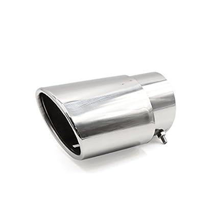 DealMux carro tom de prata aço inoxidável traseira de escape tubo de escape do silencioso guarnição