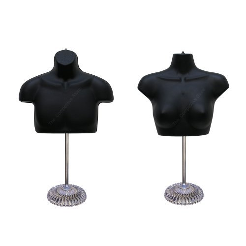 Torso Male + Female With Plastic Base Body Mannequin Form 19'' To 38'' Height For S-M Sizes - Black