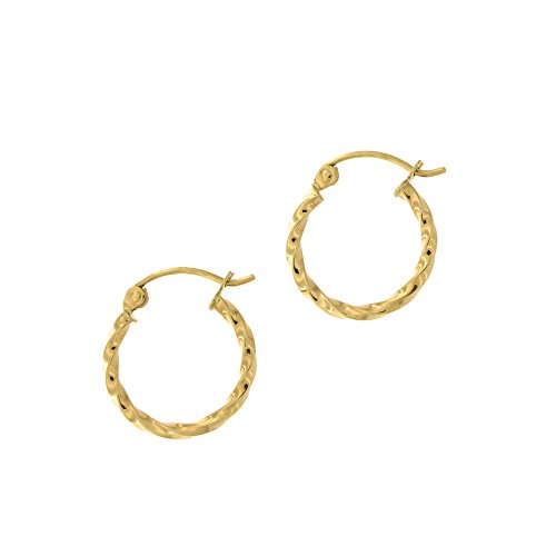 (14k Yellow Gold 2mm Small Twisted Hoop Earrings, 5/8