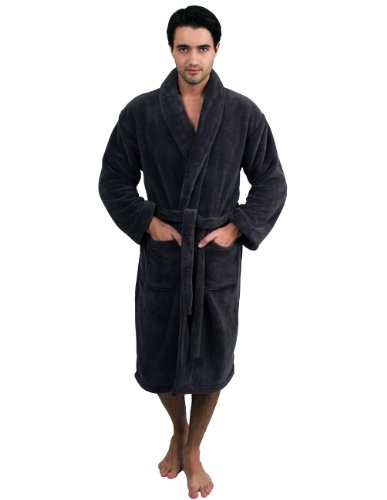 TowelSelections Men's Super Soft Plush Bathrobe Fleece Spa Robe Small/Medium Charcoal (Male Robes)