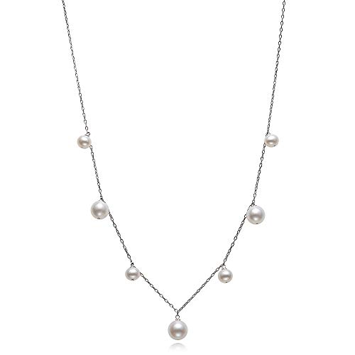 - Sterling Silver Cultured Freshwater Pearl Tin Cup Station Chain Necklace