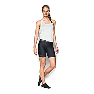Under Armour Women's HeatGear Armour Long Short, Black/Black, Medium