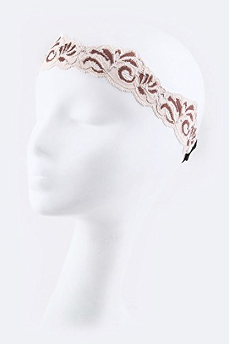 Trendy Fashion Jewelry French Lace Paisley Fashion Stretch Headband By Fashion Destination | (Peach) (Lace Marcasite)