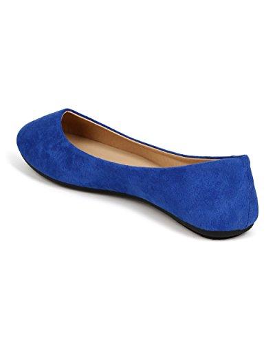 Rafraîchir Ed23 Femmes Daim Bout Rond Slip Sur Baller Plat - Bleu Royal