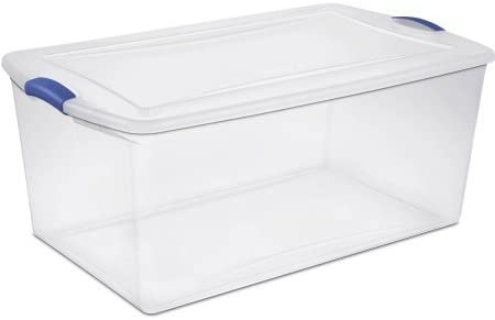 Sterilite 19290404 See-Through Lid And Base 105 Quart Latch Box- Maximum Storage Space With Secure Stacking, Stadium Blue, Case of four