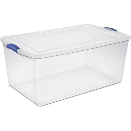 Sterilite 19290404 See-Through Lid And Base 105 Quart Latch Box- Maximum Storage Space With Secure Stacking, Stadium Blue, Case of 4