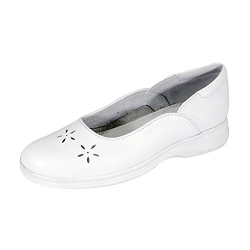24 Hour Comfort  Heather (1034) Women Wide Width Leather Dress Skimmer Flats White 9.5 by 24 Hour Comfort