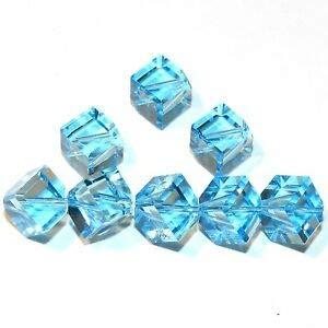 Steven_store SCEA215 Aquamarine Blue 10mm Square Diamond Dice Swarovski Crystal Beads 12pc Making Beading Beaded Necklaces Yoga Bracelets ()
