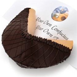 Giant Dark Chocolate Lover's Gourmet Fortune Cookie Chocolate Dipped Fortune Cookies