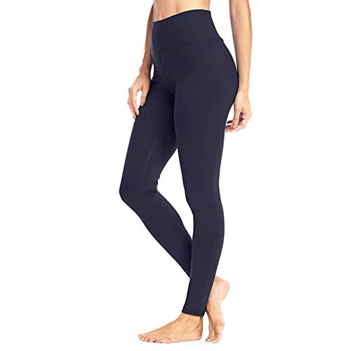 High Waisted Leggings for Women - Soft Athletic Workout Pants - Reg & Plus Size (Navy, One Size (US 2-12))