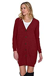 State Cashmere Women S 100 Pure Cashmere V Neck Fashion Long Cardigan Large Burgundy