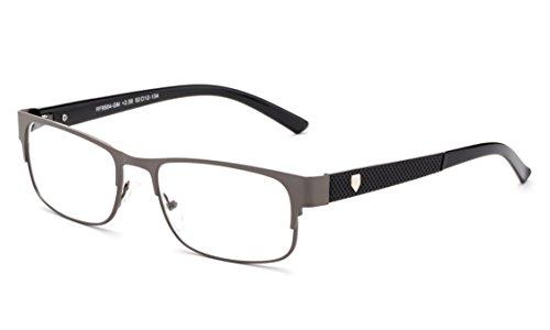 Newbee Fashion - Divide Aluminum Brushed Prescription Ready Clear Lens Rx Frames Gunmetal/Black