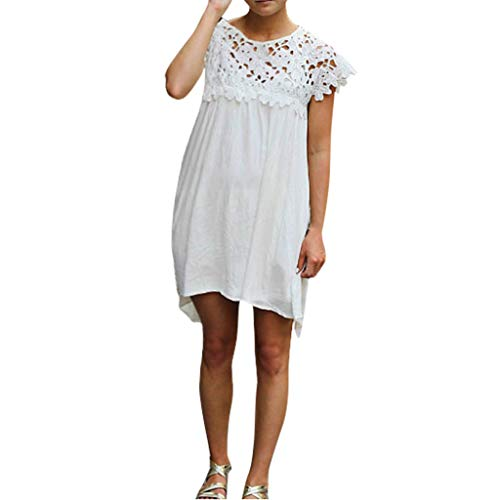 Lace Rose Bouquet Halter - Londony Women's Lace Patchwork Loose Casual Mini Chiffon Dress Crewneck Half Sleeve Summer Chiffon Tunic Dress White