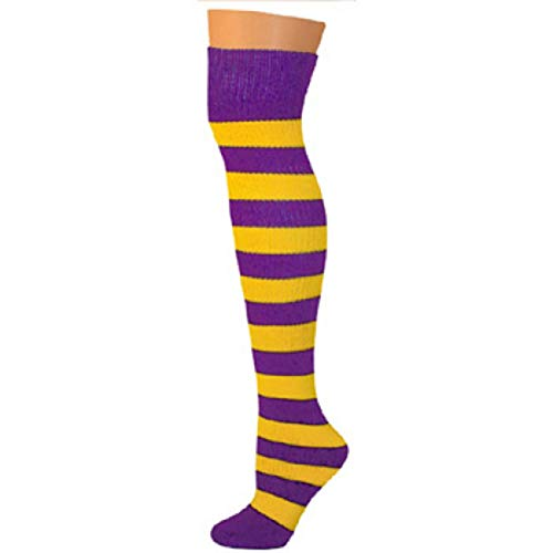 AJs Knee High Striped Socks - Purple/Gold