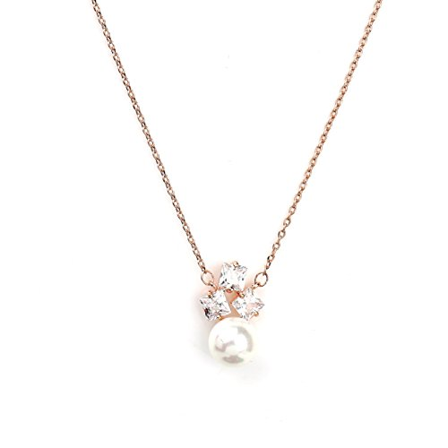 (United Elegance Sophisticated Rose Gold Tone Designer Necklace with a Faux White Princess Cut Sapphire & Pearl Combination (Rose Pearl 3))