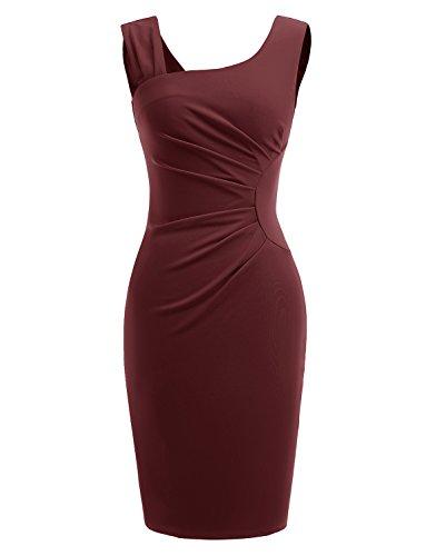 Style Dress Form (Gardenwed Women's Retro 1950s Style Sleeveless Slim Business Pencil Dress Wear To Work Cocktail Dress Burgundy S)