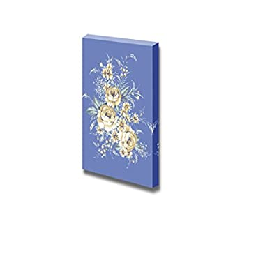 Marvelous Artistry, Beautiful Rose Bouquet Design with Simple Blue Background Wall Decor, Classic Design