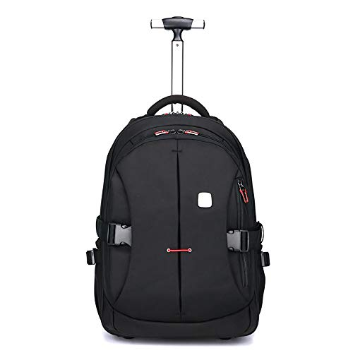 Multifunction Carry Bag - Aluminum Alloy Wheeled Backpacks, Multifunction Waterproof Trolley Bag With Laptop Compartment For School Travel Adjustable Back Straps And Carry Handle 628A,Black