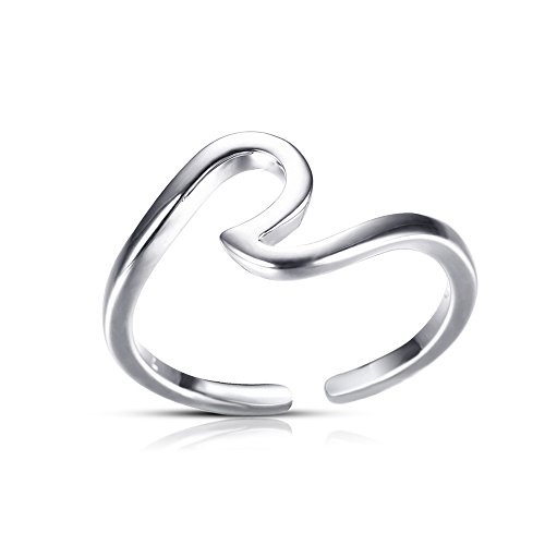 (Antique Rose Gold Silver Wave Rings for Women Simple Metal Surfer Open Ring Knuckle Surf Rings Ocean Wire Ring (Silver))