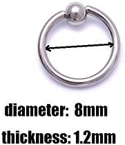 86335a40fbfd Interesting® Anillo de aro de acero quirúrgico de 4pcs Piercing bola ...