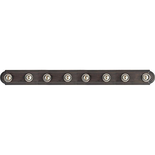Maxim 7128OI Essentials 8-Light Bath Vanity in Oil Rubbed Bronze Finish - Metal Body, Damp Rated. Vanity Lights